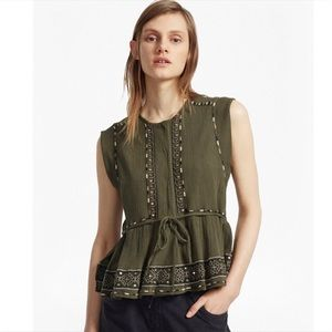 French Connection Adanna Crinkle Peplum Top
